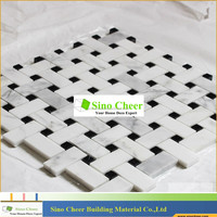 The high quality Carrare white marble basketweave mosaic tiles with Black Dots for bathroom