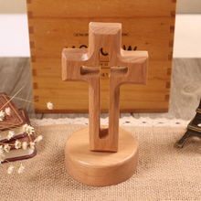 beech wood standing cross with round/flower base Christian desktop gift crucifix
