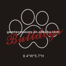 Bulldogs with pawprint hotfix rhinestone iron on transfer design