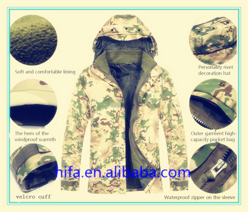 Outdoor Camouflage Coat Jacket Casaco Men Military G8 Windbreaker Fleece Hunting Jungle Clothes Size:M L XL XXL