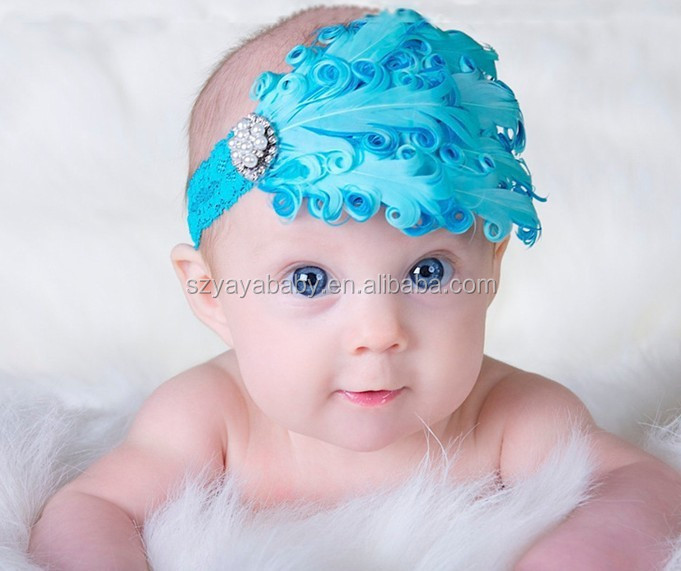 Bright blue curly goose feather pads for baby hairband