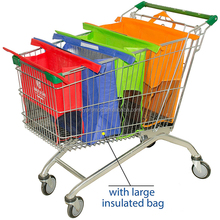 Eco Friendly 4 Sets Reusable Grocery Bags with Insulated Cooler, Shopping Cart Trolley Bags