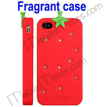 Fragrant Diamond Strawberry Silicone Case for iPhone 4/iPhone 4S 3D Silicone Cover