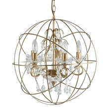 Industrial Orb Golden Chandelier Pendant Light Vintage Crystal Hanging Lamp CZ2663/5