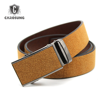 Premium Raw cow leather hides belt 100% genuine men's belts with automatic covered leather buckles