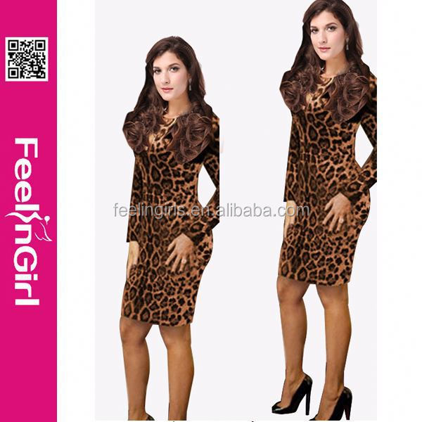 Hot Sexy Leopard Printing Long Sleeve Short Prom Dress With Feathers