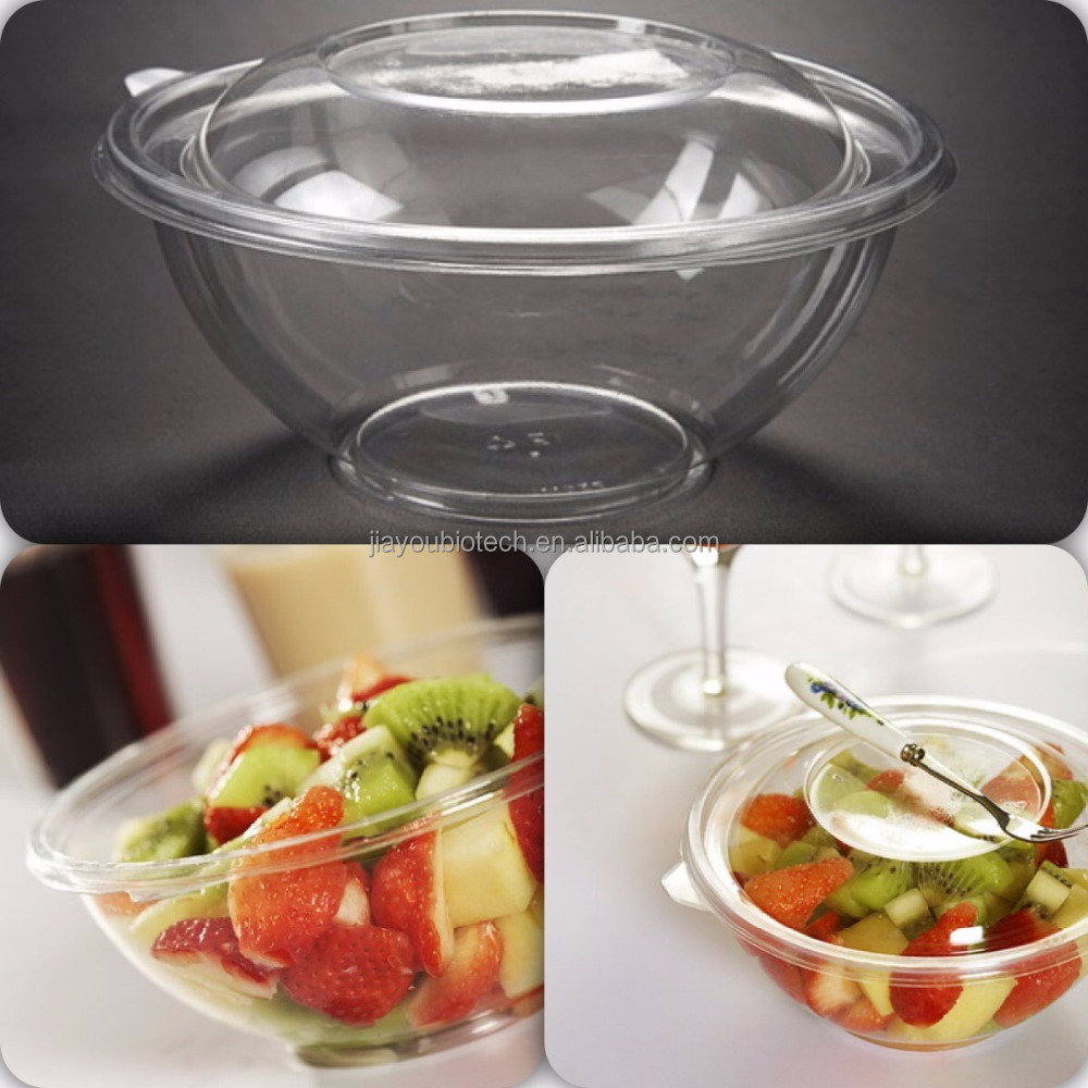 Take Away 24OZ Round Plastic Salad Bowl With Lid To Go