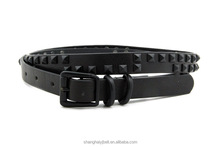 Fashion lady simplerivet black skinny pu leather waist belt