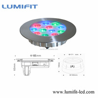 Top quality IP68 DC12V 24V 12W recessed led underwater light with CE ROHS