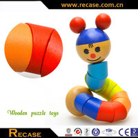 Wooden twisting cartoon animal puzzle toy