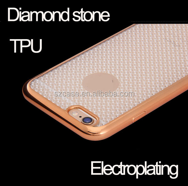 High quality diamond stone electroplated cell phone case for samsung galaxy J1 ACE J2 J3 J5 J7 2016 J510 J710