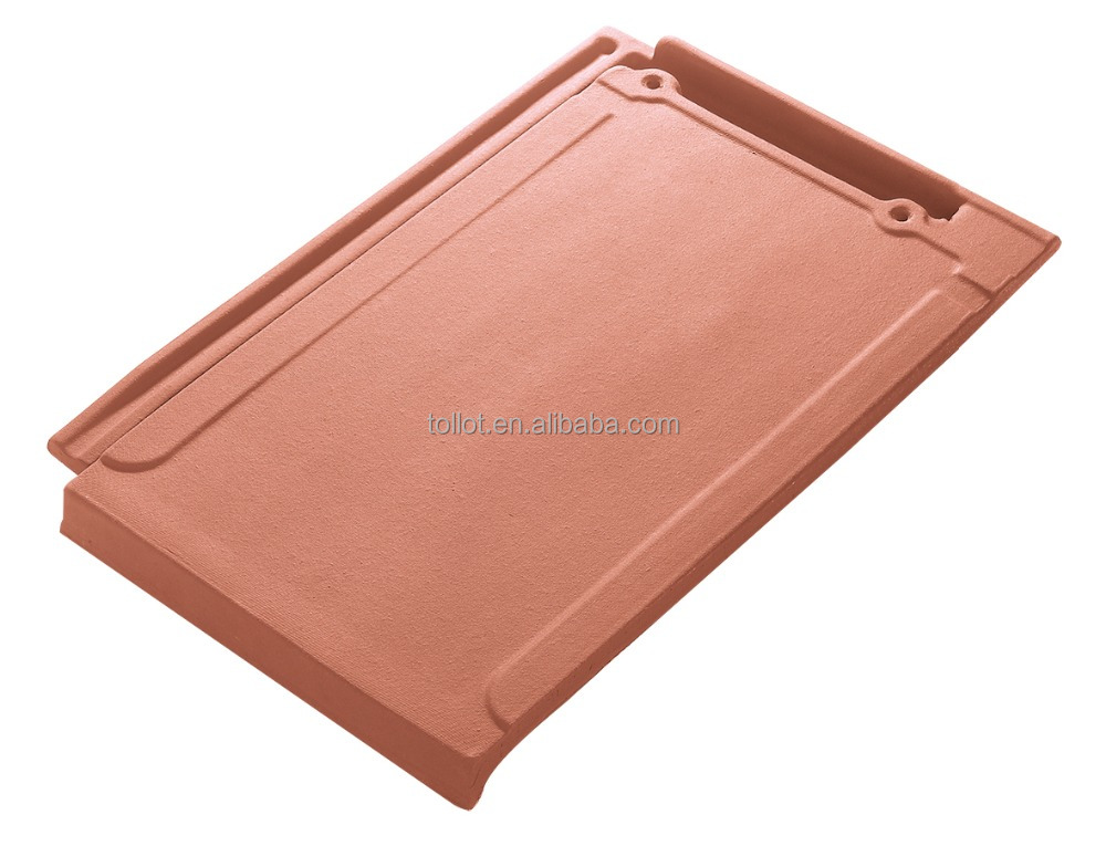Cheap Construction Material Ceramic Vermilion Flat roof tiles 410*270 for Villa Roof