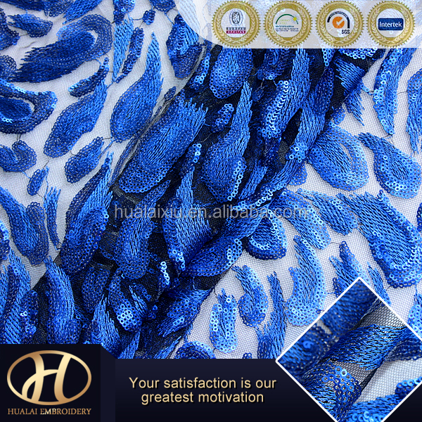 royal blue sequin mesh embroidery fabric