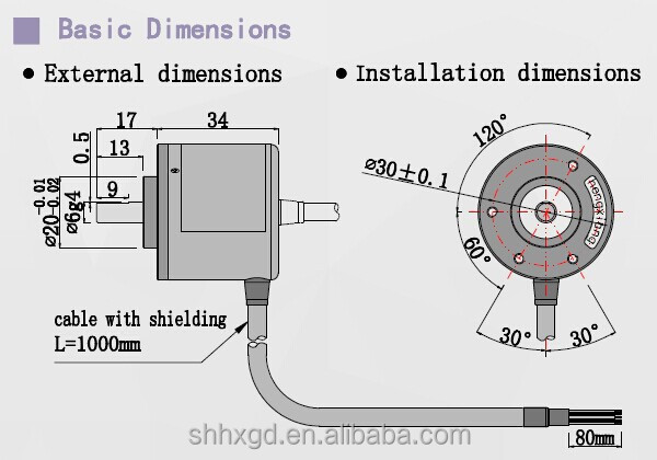Incremental rotary solid shaft S38-J Series 250p encoder