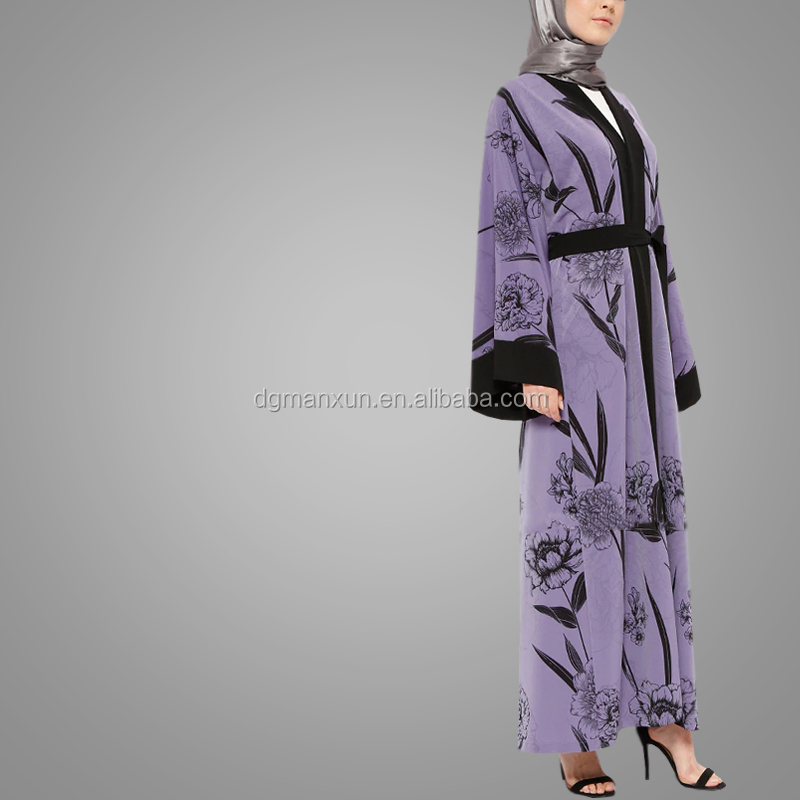 Arabic Abaya New Design Fashion Printing Long Sleeve Cardigan Kimono Abaya Elegant Islamic Clothing