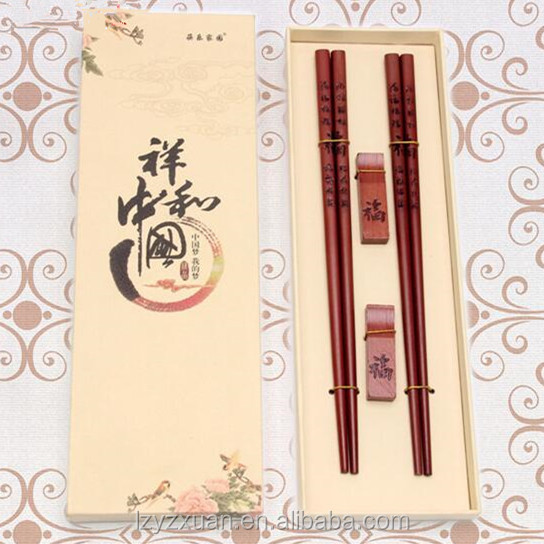 Alibaba hot sale traditional hand carved wooden chopsticks with 2 pieces holder and logo as wedding gift