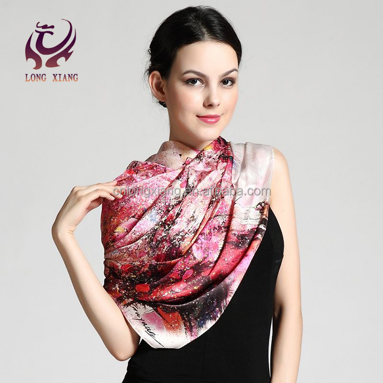 Fashionable Scarves Manufacturing Fake Designer Brand Names Pure Silk Satin Scarf Shawl For Women