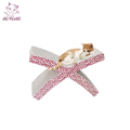 For outdoor or indoor green&low price X-shaped wholesale cardboard cat scratchers