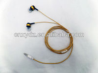 Metal in-ear earphone mobile phone earphone handphone earphone with colorful cable for iphone mobilephone mp3