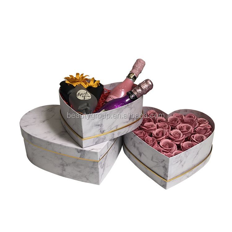 High quality marble paper boxes, heart shape flower box
