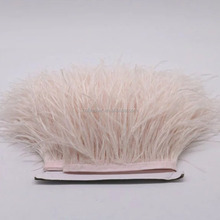 Beautiful and fashion Dyed Ostrich Feather Fringe, Cheap Ostrich feather trim, white Ostrich feather trimming fringe for dresses