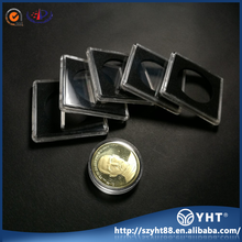 2017 customized single Acrylic square coin capsules with black rings