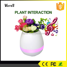 Qualified and favourable price smart bluetooth speaker with LED light half round flower pot