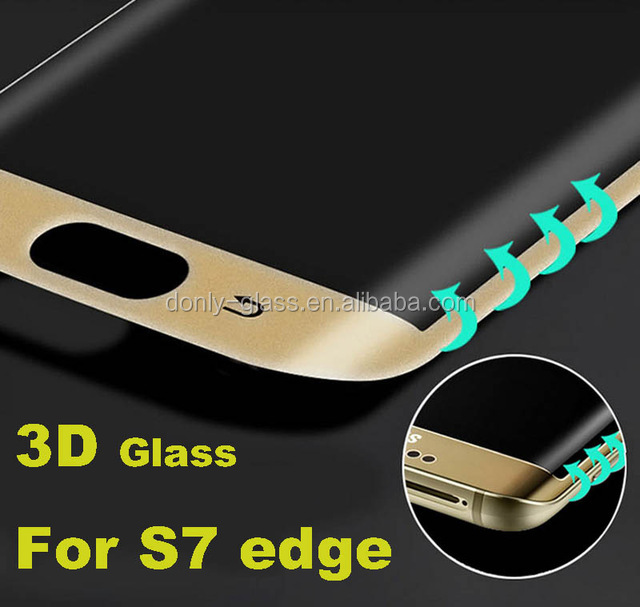 Waterproof anti-fingerprint Gold color 3D curved tempered glass screen protector for Samsung Galaxy S6/S7 edge