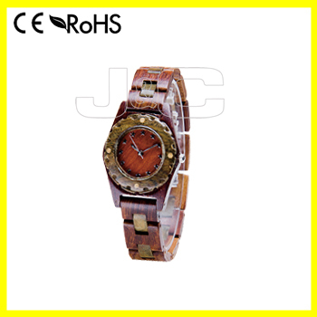 2015 wholesale OEM Wooden Quartz Wrist Watch and leather watch