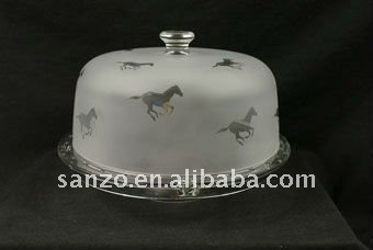 clear handmade frosted Multi Function Glass Cake Plates with Cover