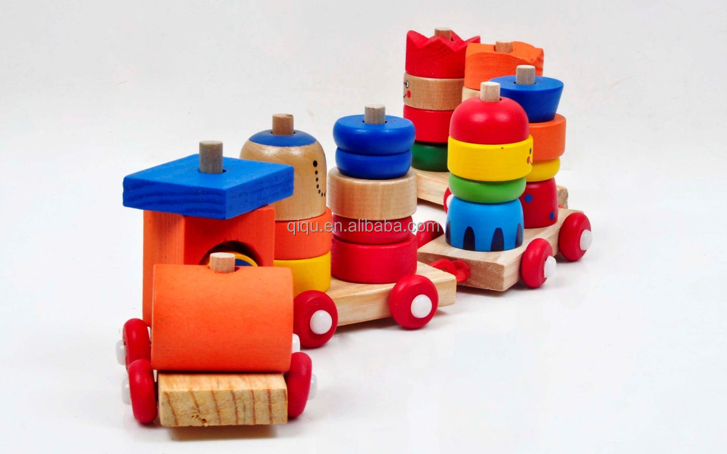 Baby Smile Wooden Train Blocks Set Toy