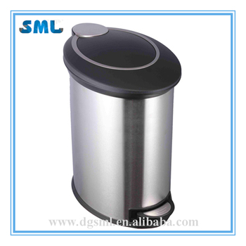 Hotel/Room/Club/Office Use Soft Closed Fingerprint Resistant 12L Stainless Steel Trash Can With Handle