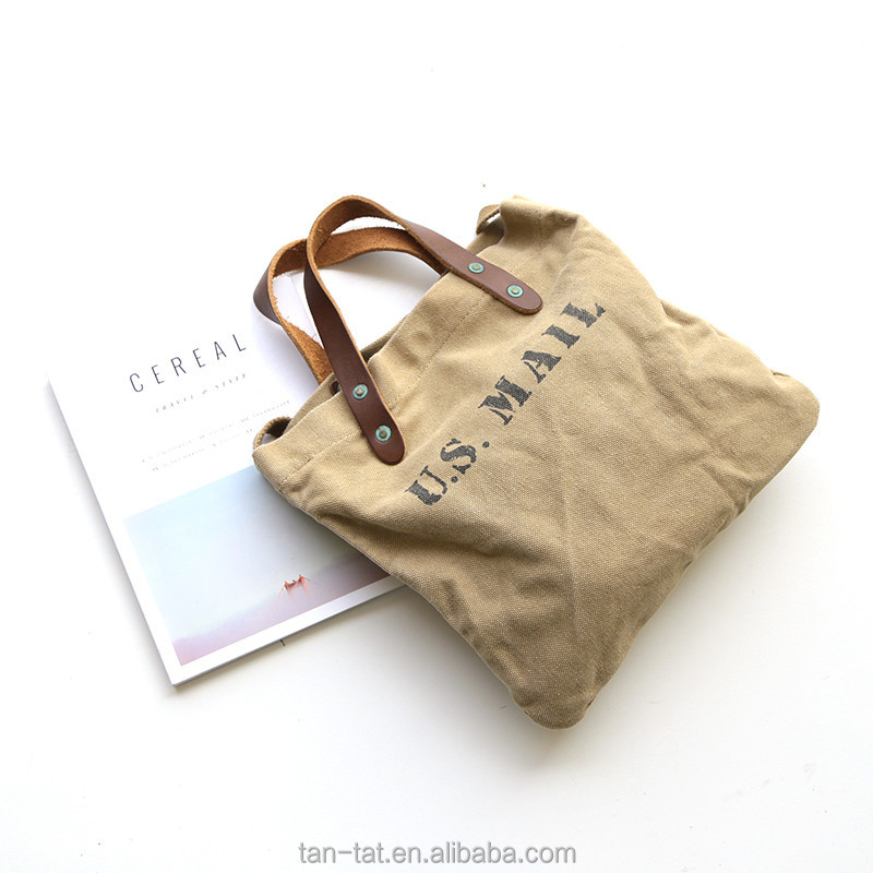 Canvas Cotton Tote Bag with Real Leather Handles Straps