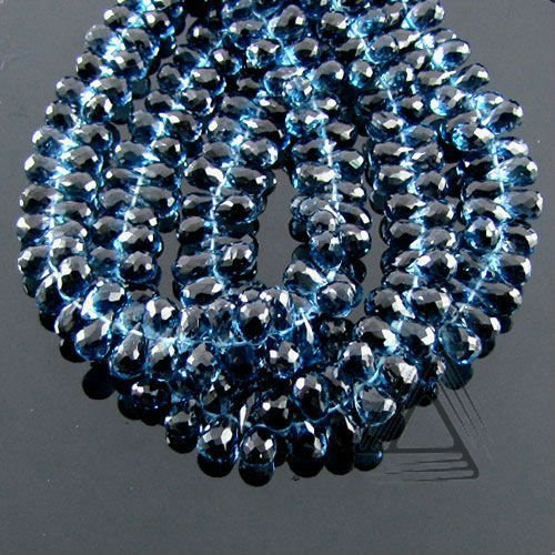 London Blue Topaz Briolette Drops Beads Strand, Natural Gemstone Beads, Wholesale Semi Precious & Precious Stone Loose Beads