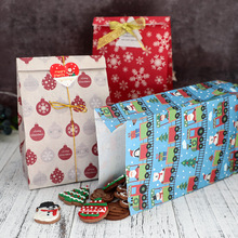 New Year's Christmas wrapping brown paper gift bag for candy biscuit packaging