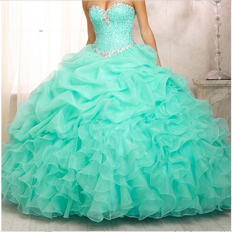 MOON BUNNY Hot sale Quinceanera Dresses 2015 Organza Ball Gown Sweetheart Crystal sweet 16 dress sweet 15 gowns vestidos de 15 S