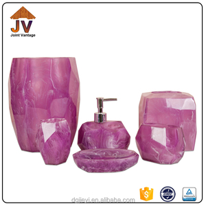 Clear poly resin bath accessory bathroom set ,purple bathroom accessories set