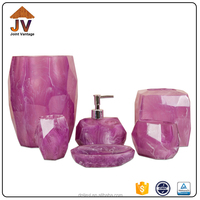 Simply polyresin bath accessory set , purple bathroom accessories set