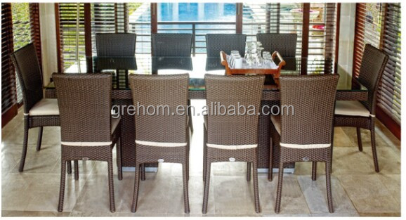 outdoor glass top rattan 10 seater dining table set