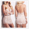 Plus Size deep v neck backless Women applique Sexy See Through lace Bodycon Dresses for Party