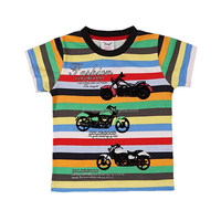 2-6T (B8105#GREEN&BLUE) Children wear boy summer t shirt cotton stripe motorbike printed tees