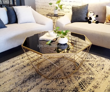 Small Size Living Room Personalized Sofa Next To The Creative Glass Round Tea Table