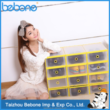 Hot Selling Transparent Plastic Flip-open cover Drawer Shoes Box/ Storage Box