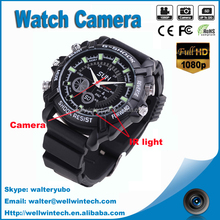 Hot sell Full HD 1080P Video sports watch camera with ir function, wrist sports camera watch hidden camera