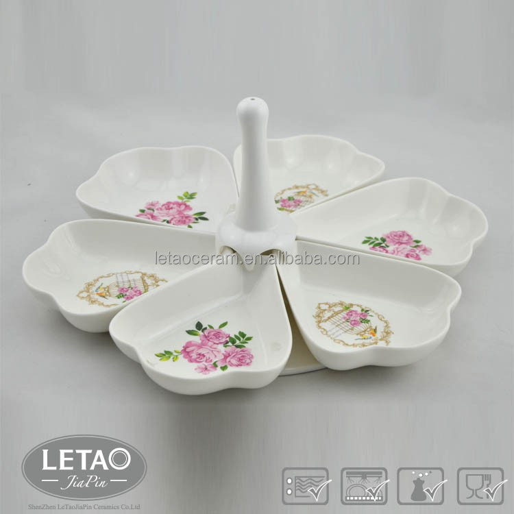 China wholesale high-end ceramic fruit tray / bowl / plate ,decorative petal design ceramic dry fruit tray