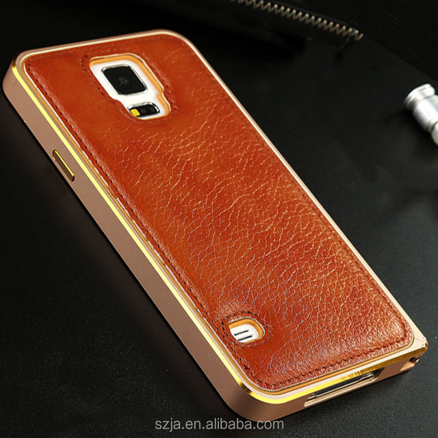 Genuine leather back cover for Samsung Galaxy S5 i9600 G900F Hippocampal Buckle aluminum frame for samsung galaxy s5 case