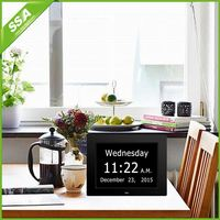 8 inch auto dimming table alarm clock with calendar with Non-Abbreviated Day & Month