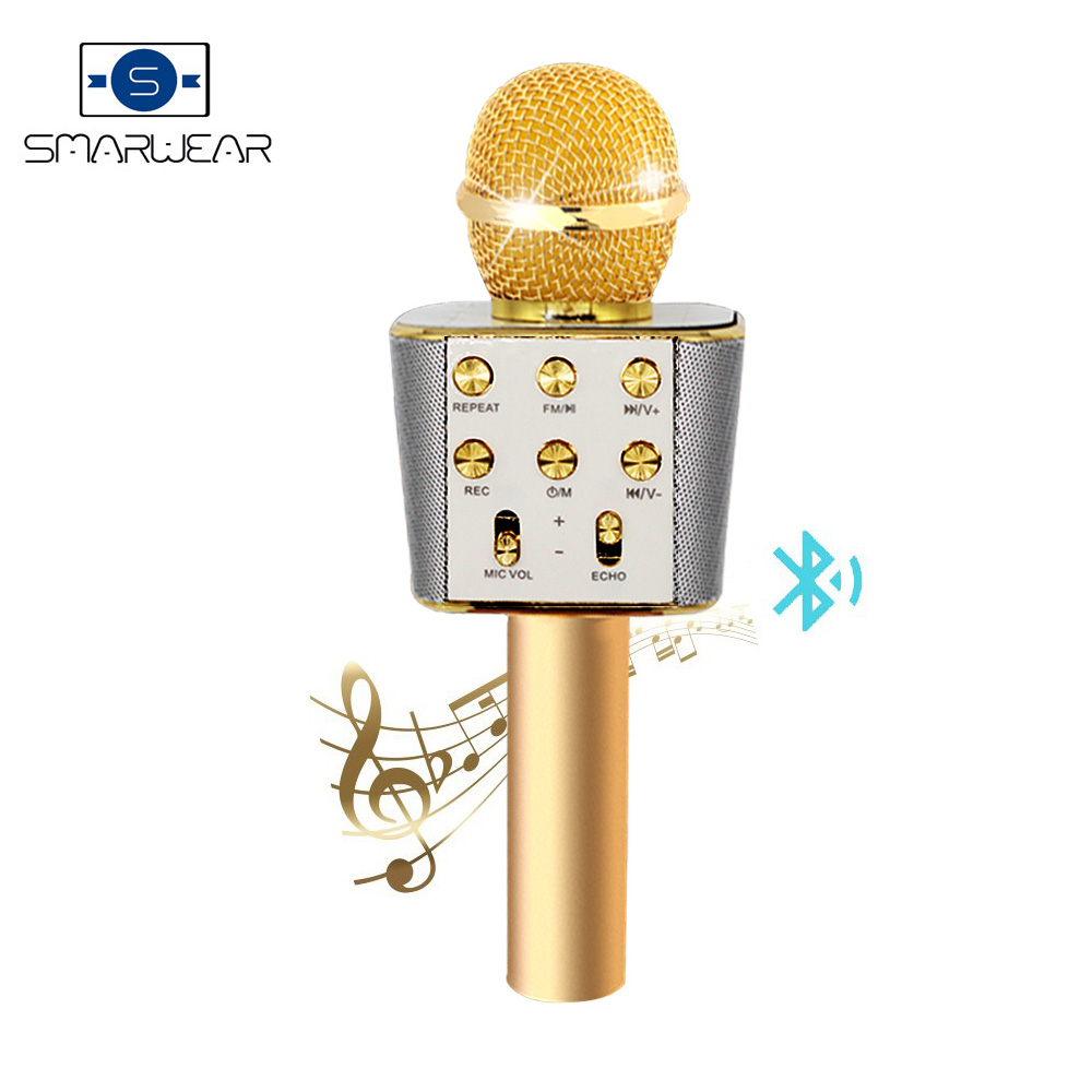 Smarwear SW1688 Wireless Karaoke KTV HIFI Metal handheld Microphone Speaker FM TF aux usb Support smart phone