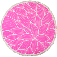 China wholesale new design luxury 100 cotton large mandala round beach towel with fouta tassel