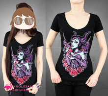 High quality cheap t shirt printing Black gothic blouse V-neck Maleficent with and roses print T8019